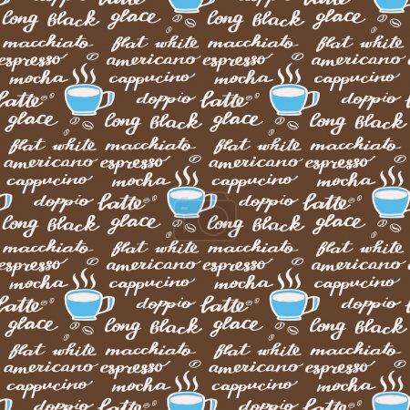 Illustration pour Menu café. Modèle sans couture avec des noms de dessins animés dessinés à la main de différentes boissons au café. Dessin de caniche. Illustration vectorielle . - image libre de droit