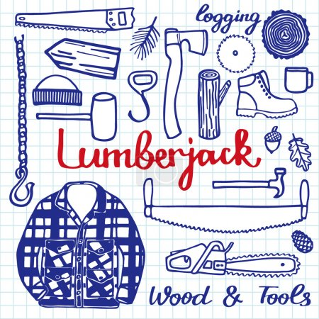 Illustration for Lumberjack set, wood and tools. Hand-drawn cartoon logging stuff. Doodle drawing. Vector illustration. - Royalty Free Image