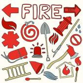 Firefighting set Hand-drawn cartoon collection Doodle drawing Vector illustration