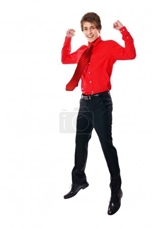 Happy businessman in red shirt