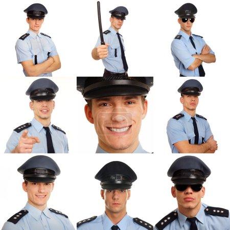 Photo pour Mosaïque photo de jeunes policiers sur blanc - image libre de droit
