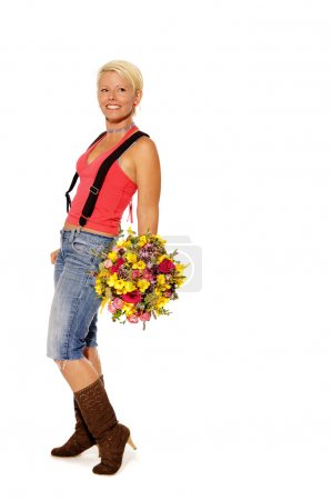 Woman holds bouquet of flowers