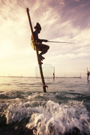 Fishermen at the coast of Weligama