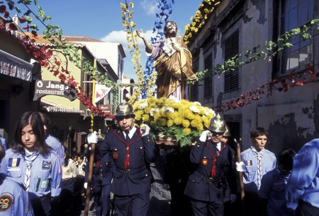 religion procession in the old town of Funchal