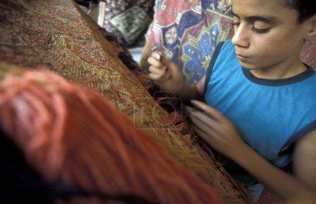 Photo pour Tapis de tissage garçon à l'atelier au marché (souk) dans la ville d'Alep en Syrie au Moyen-Orient - image libre de droit