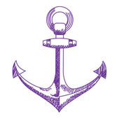 Anchor icon Nautical vector isolated white purple