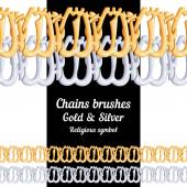 Set of chains metal brushes - gold and silver religious symbol of Islam vector