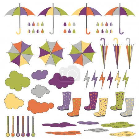 Illustration for Rubber boots umbrellas rain lightning rain clouds Vector set - Royalty Free Image