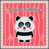 Happy Birthday Panda on a coral background