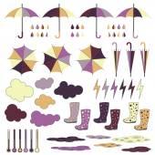 Rubber boots umbrellas rain Vector set
