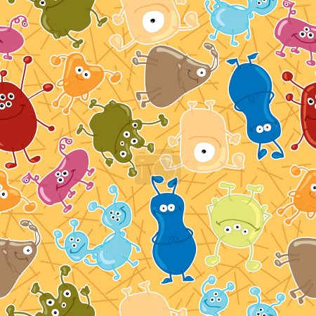Bacteria. Seamless vector pattern. Medicine background