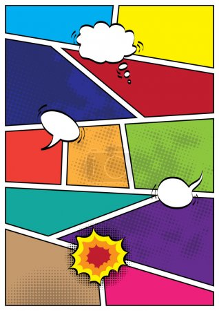 Comics pop art style blank layout template background vector illustration