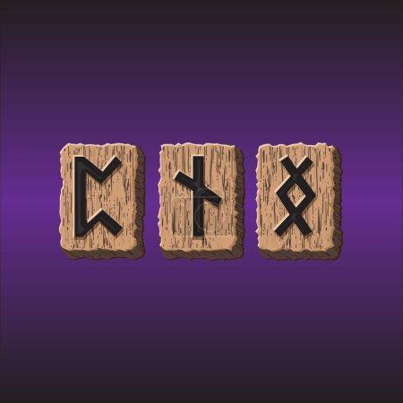 Norwegian Rune icons vector Set of three pieces...
