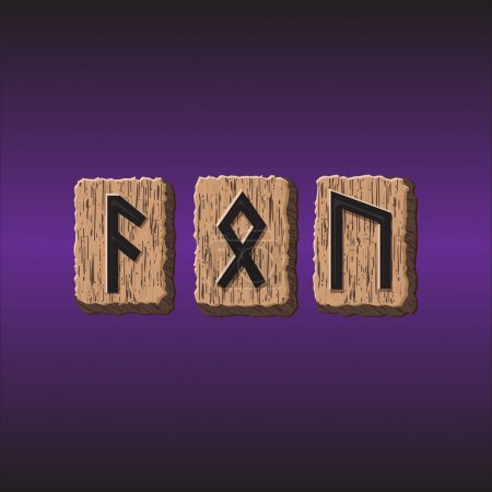 Norwegian Rune icons vector Set of three pieces....