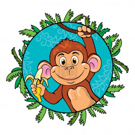 Illustration for Funny monkey with a banana in her hand. As part of the leaf - Royalty Free Image