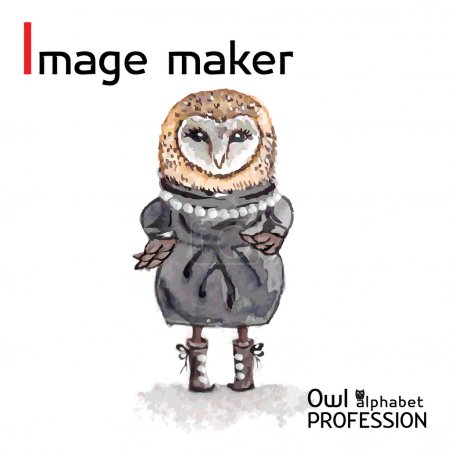 Alphabet professions Owl Letter I - Image maker character Vector Watercolor.