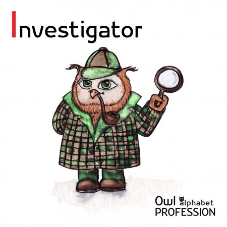 Alphabet professions Owl Letter I - Investigator character Vector Watercolor.