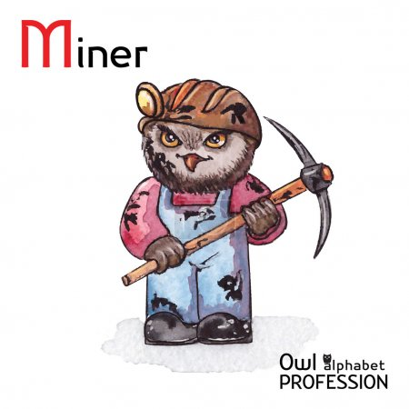 Alphabet professions Owl Letter M - Miner character Vector Watercolor.
