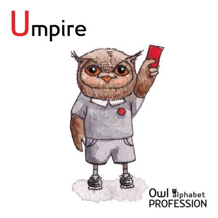 Alphabet professions Owl Letter U - Umpire Vector Watercolor.