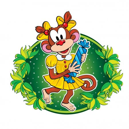 Funny monkey with a candy. Vector character.