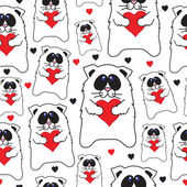 Cats with hearts  pattern