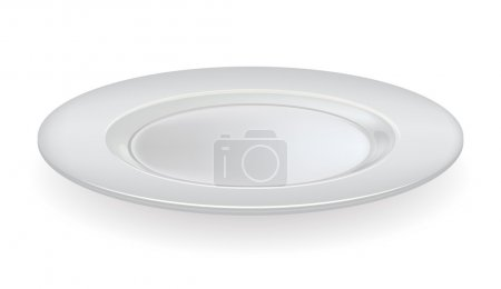 Vector ceramic plate on a white background