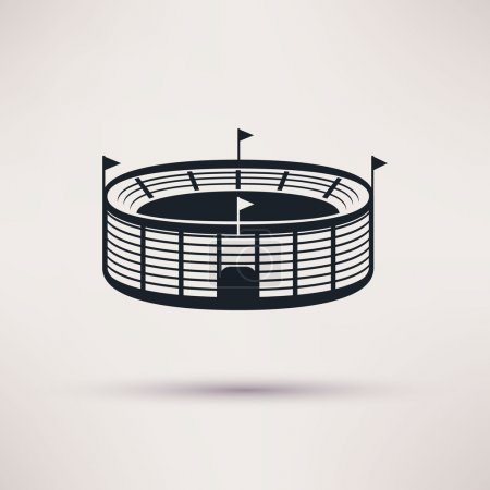 Sports stadium vector icons in a flat style.