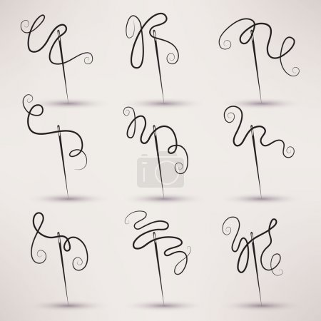 needle and thread icon vector set in flat style.