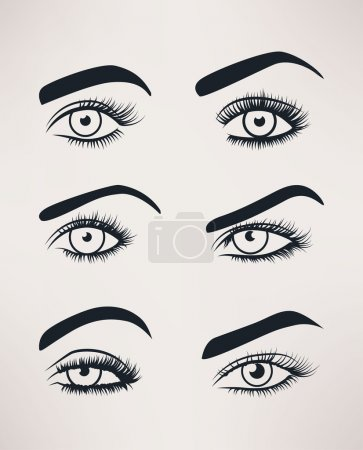 Silhouette of female eyes open, different shapes.