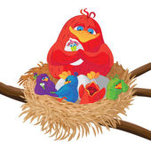 Bird with chicks in  nest
