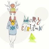 Vánoční pozadí a přání s jelen