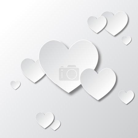 Foto de Paper white hearts Valentines day card - Imagen libre de derechos
