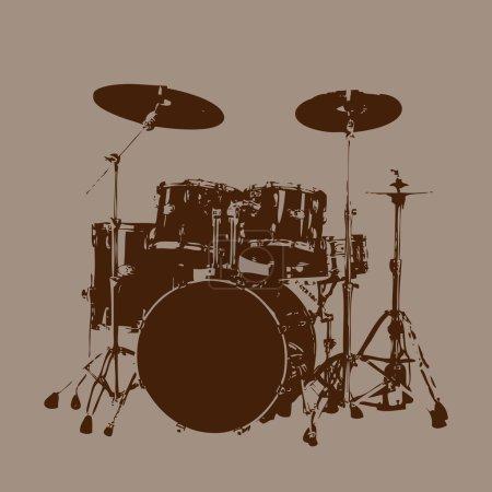 Illustration for Grunge Drum kit vector - Royalty Free Image