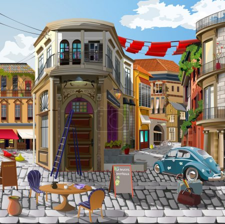 Photo pour Dessin à la main sur l'ordinateur pour la peinture. façade accueillante, café, maison, modèle, boutique, art, image, le déjeuner, cour, repas, dîner, restaurant, bar, porte, avant, fenêtre, designer, couleurs, vélo, vélo, peinture, machine, voiture - image libre de droit