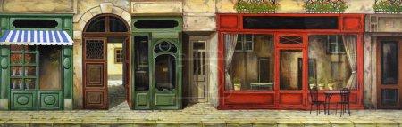 Photo pour Le tableau peint à l'huile Café parisien - image libre de droit