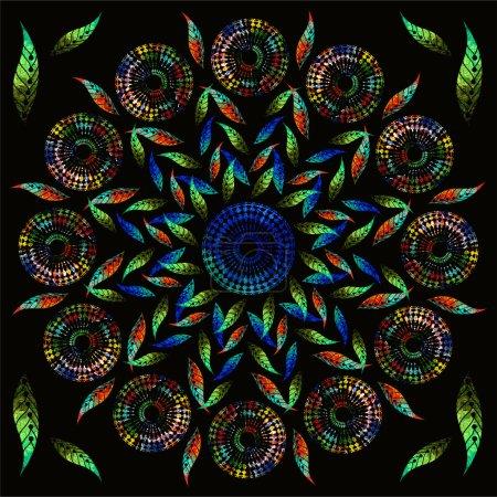 Photo pour Image de fond lumineux avec des peintures à l'huile. Mosaïque colorée. ornement motif floral. Peinture à l'huile. Motif fleurs, peint avec des peintures à l'huile. Ornement motif fleur, mosaïque. Modèle sur noir parfait . - image libre de droit