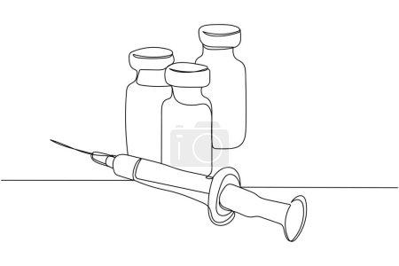 Illustration pour Continu une ligne de vaccin en silhouette sur fond blanc. Stylisé linéaire.Minimaliste. - image libre de droit
