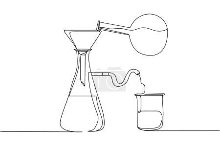 Illustration pour Continu une ligne de concept de laboratoire en silhouette sur fond blanc. Stylisé linéaire.Minimaliste. Concept de chimie - image libre de droit
