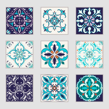 Illustration for Set of vector Portuguese tiles. Beautiful colored patterns for design and fashion with decorative elements. Portuguese, Azulejo, Talavera, Moroccan ornaments in blue and orange colors - Royalty Free Image