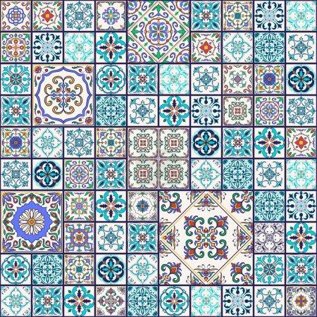 Vector seamless texture. Beautiful mega patchwork ...