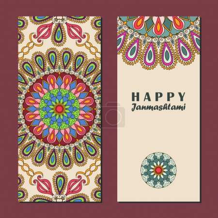 Vector set of invitation cards or vertical banners to Krishna Janmashtami