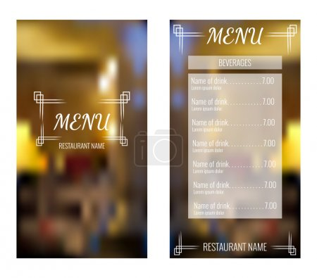 Illustration for Menu design with blurred background. Vector template - Royalty Free Image