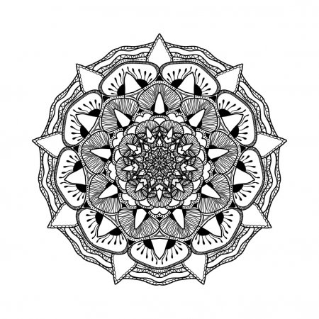 Vector beautiful mandala. Black and white pattern for design and painting