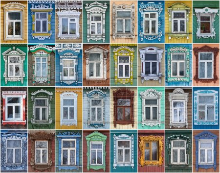 Photo for Collage of 32 windows with architraves. - Royalty Free Image