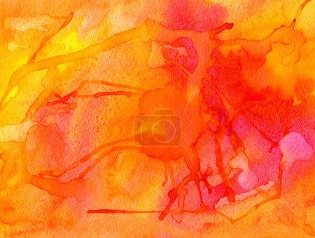 Rot und orange Aquarell abstrakt mit großes Aufsehen