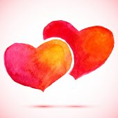 watercolor background 2  hearts for valentine day