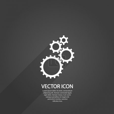 Illustration for Gears icon, vector illustration. Flat design style - Royalty Free Image