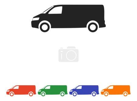 Illustration for Van icon,vector flat design illustration - Royalty Free Image