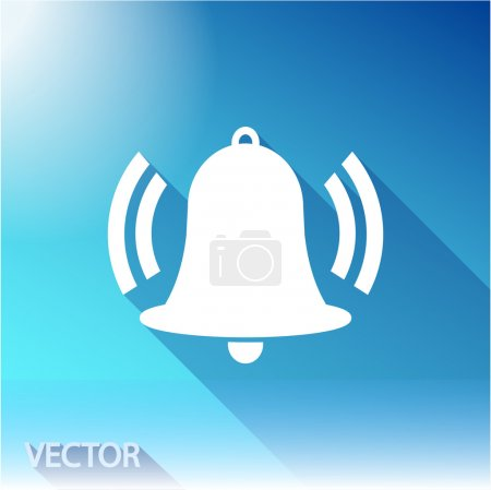 Bell icon, flat vector design...
