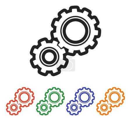 Illustration for Gear icon illustration. Flat design style - Royalty Free Image